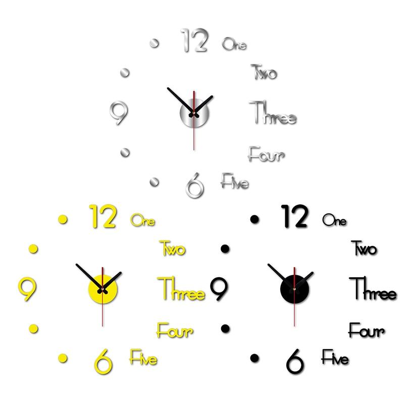Reloj de pared 3D para decoración del hogar, reloj de pared grande moderno, Pegatina autoadhesiva para pared, reloj de pared en acrílico creativo, calcomanía artística para pared de cuarzo