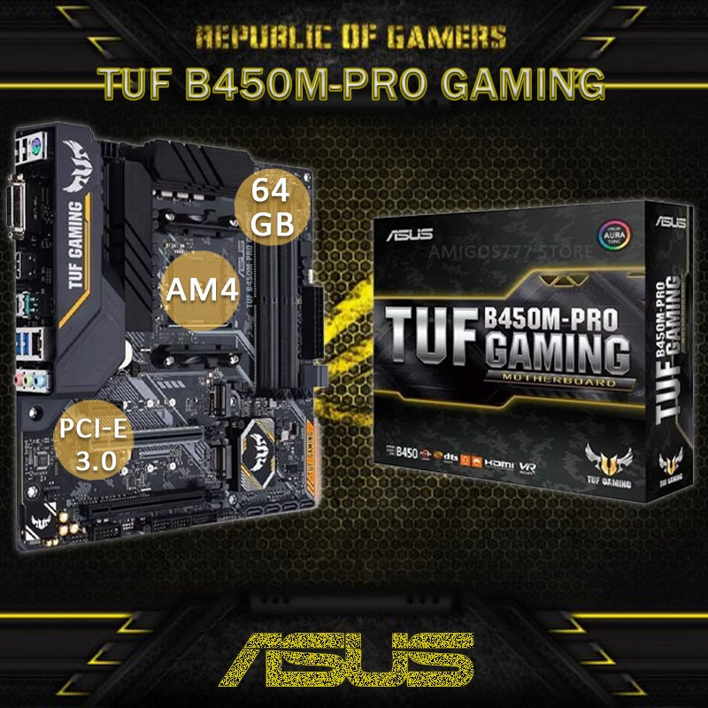 Socket AM4 Asus TUF B450M-PRO GAMING Motherboard DDR4 PCI-E 3.0 DVI USB3.1 Gen 1 64GB DDR4 AMD B450 Gaming Placa-Mãe AM4 New