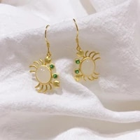 hetian white jade s925 sterling silver crab earrings silver jewelry vintage horizontal gilding craft inlaid anti allergy design