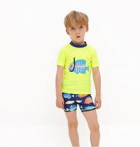 Boys Split Swimwear Child Outdoor Beach Swimwear Summer Diving Fish T-Shirt+Short+Hat Swimsuit Free Shipping