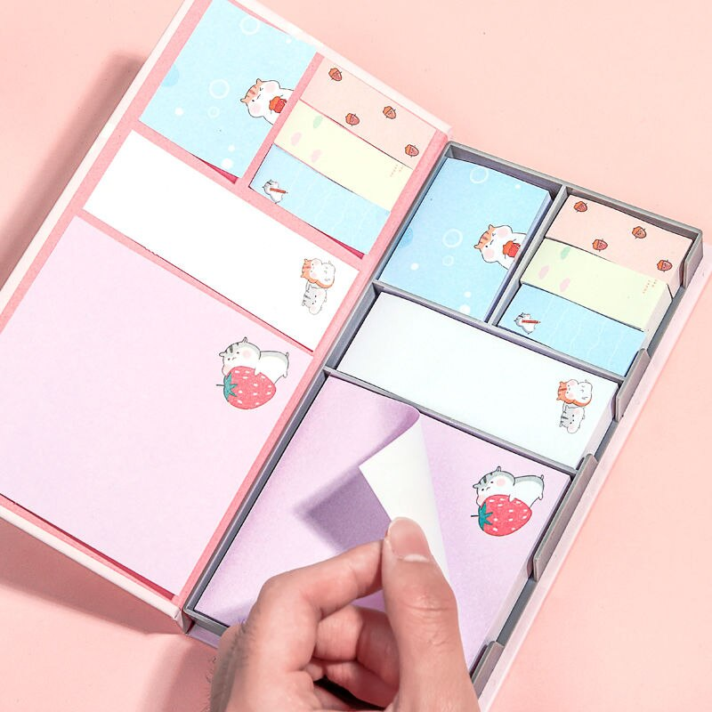 Multi-size boxed sticky notes sticker set creative Korean ins sticky notes cute cartoon girls sticky notes paper sticky notes creative black white cat and little carton shape sticky notes
