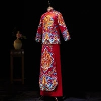 high quality embroidery dragon costume vestido oriental red groom vintage cheongsam traditional chinese wedding gown qipao