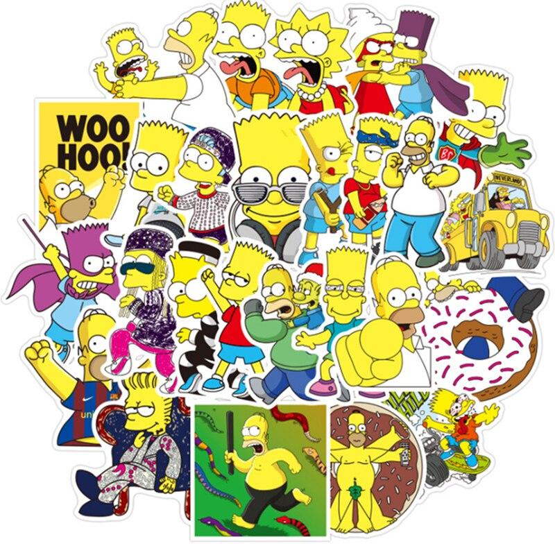 Pegatinas de dibujos animados de 50 Uds. De Los Simpsons, pegatinas para ordenador portátil, pegatinas para MacBook, resistentes al agua, para nevera, Skateboard, maletas, coche y teléfono