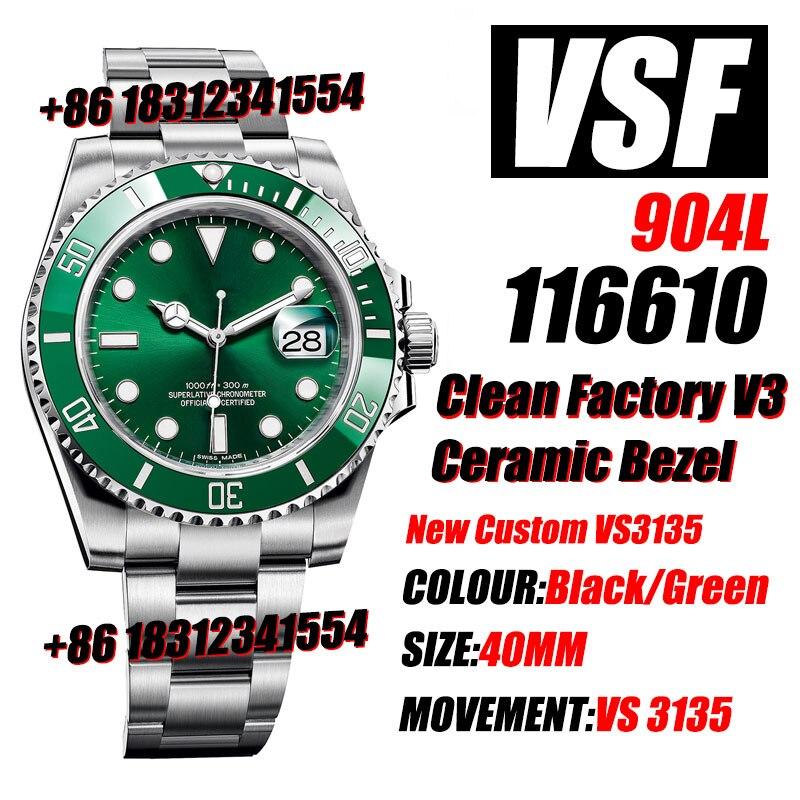 Men's Mechanical Watch Sub 116610 Green/Black Clean v3 Ceramic 904L Steel VSF 1:1 Best Edition Blue Spring VS3135 Movement