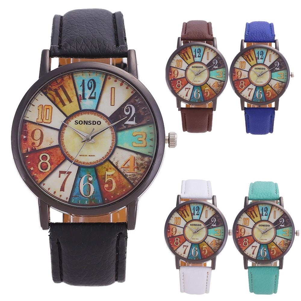 SONSDO Vintage Quarzt Uhr Frauen Unisex Retro Harajuku Graffiti Casual Faux Leder Analog наручные часы Mode Armbanduhr