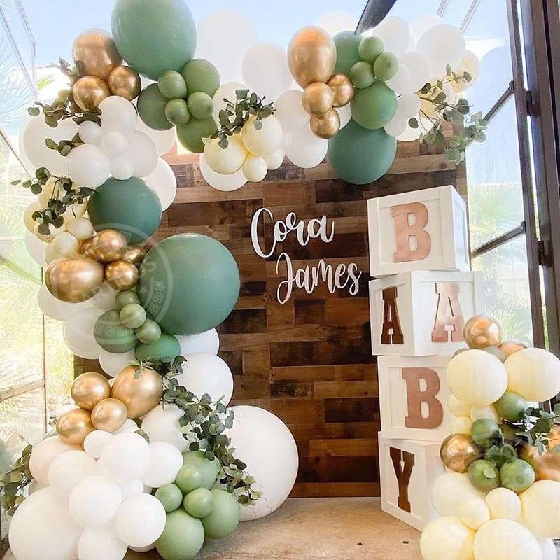 157pcs Retro Green Balloon Garland Arch Kit Avocado Wedding Birthday Party Decorations Baby Shower Kids Decoration