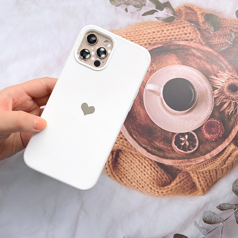 For iPhone 11 Pro Max Case Silicone Holo Heart Matte Full Cover for iPhone 12 pro xs xr 7 8 Plus x 11Pro SE 2020 12 Mini Case