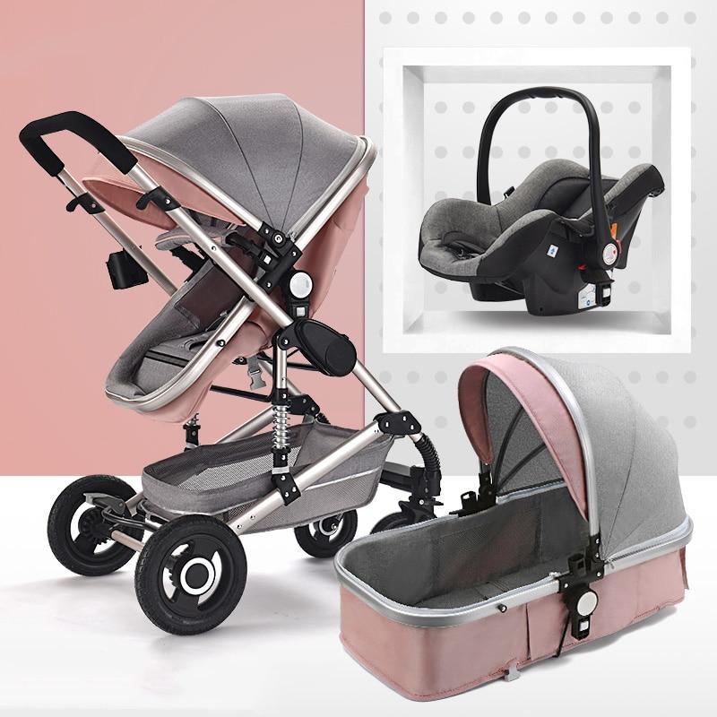 Baby Stroller 3 in 1 Luxury Travel Pram Carriage Basket Car Seat enlarge