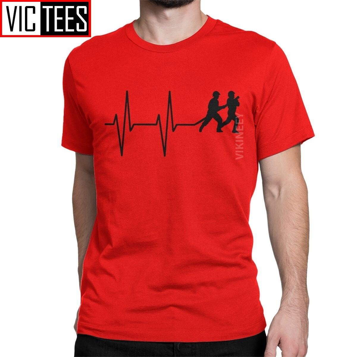 Men Fireman Heartbeat Firefighter Tshirt Fire Hose Worker Uniform Rescue Cotton Clothes Classic T-Shirt