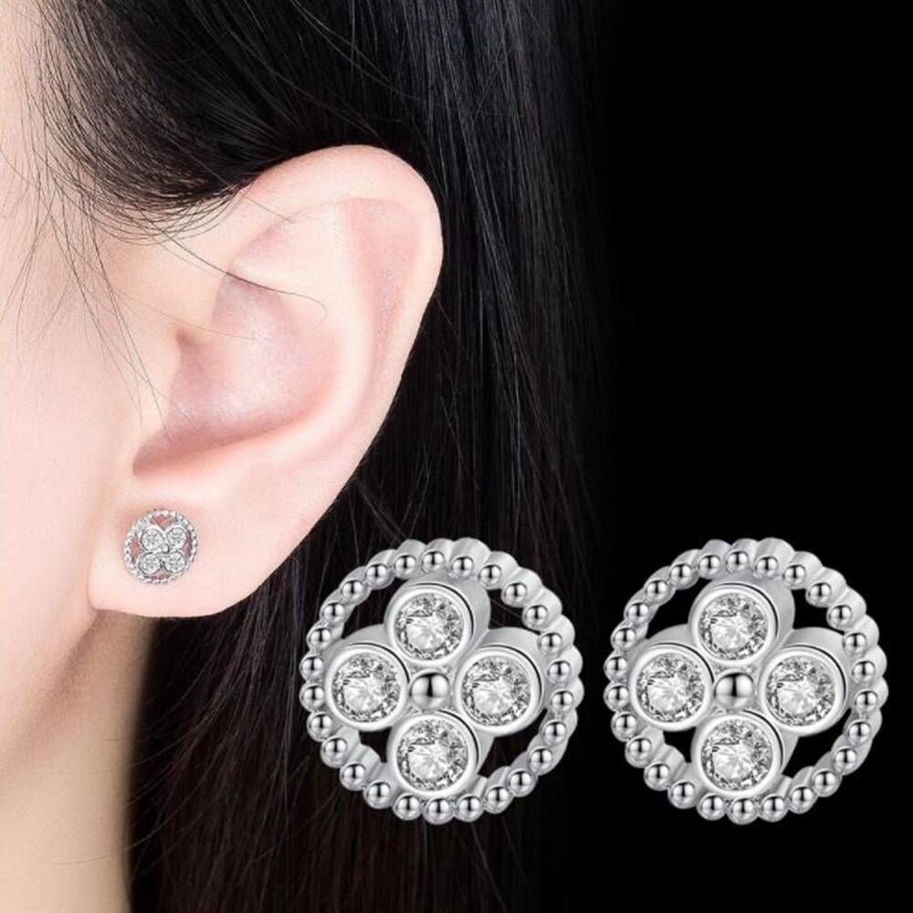 925 Sterling Silver New Woman Fashion Jewelry High Quality Retro Hollow Crystal Zircon Round Angel Eye Stud Earrings