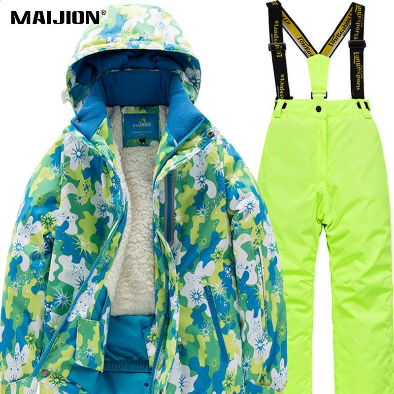 Winter Waterproof Kids Detachable Hat Clothings Teens Children Skiing Snowboard Suit Jackets Pants Hooded Fleece Ski Clothings