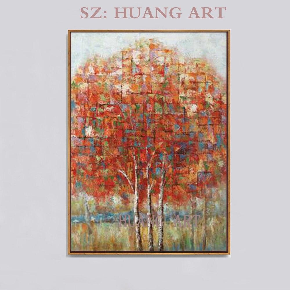 Faca com a mão 3 d árvore pintura a óleo da paisagem na lona da cena da natureza abstrata pintura de parede adorno doméstico lobby ho