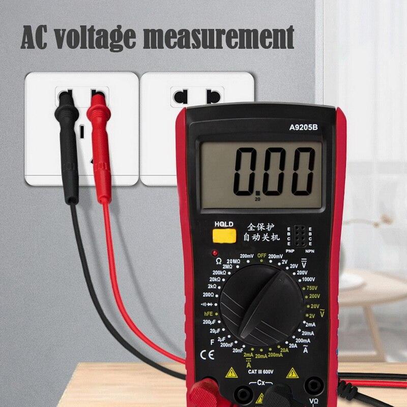 Portátil lcd multímetro digital handheld medidor de tensão tester para eletrodomésticos multímetro tester a9205b
