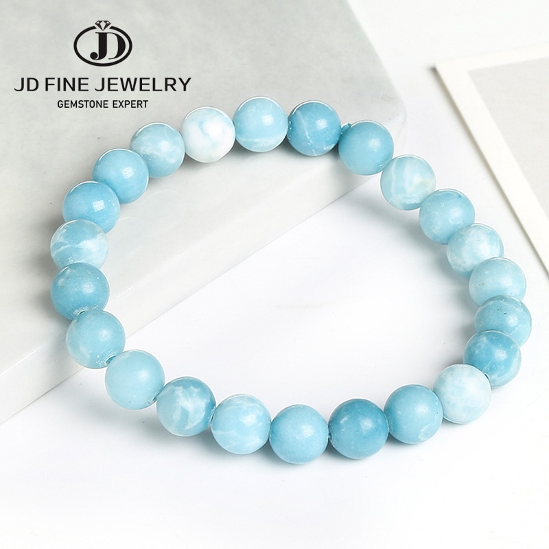 JD nueva llegada hecho a mano con cuentas mujer helada Larimar piedra joyería pulsera 10mm piedra redonda pulsera hombre brazalete de cristal azul