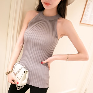 Crop Top Women 2019 Halter Cropped Debardeur Femme Knitted Blouses Cotton Womens Off Shoulder Sexy Tops Woman Clothing Garter