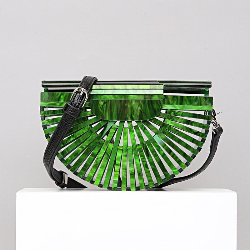 Bolsa de Acrílico Bolsa na Mão Cruz-bolsa de Cesta de Bambu Oco para Fora Feminino Moda Férias Praia Bolsa 2021 Novo Estilo