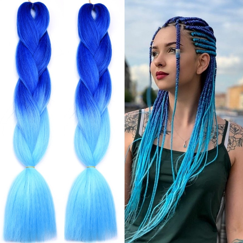 Full Star Pure Ombre Jumbo Braids Hair 24 Inch 120 Colors Fake Synthetic Braiding Hair Extensions for Braids 100g Wholesale
