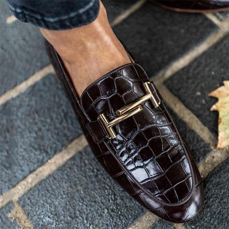 Men Pu Leather Shoes Slip on Casual Shoes Dress Shoes Brogue Shoes Spring Ankle Boots Vintage Classi