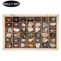 42 pieces natural rock ore rock specimen primary school geography ore science teaching instrument specimen collectibles with box