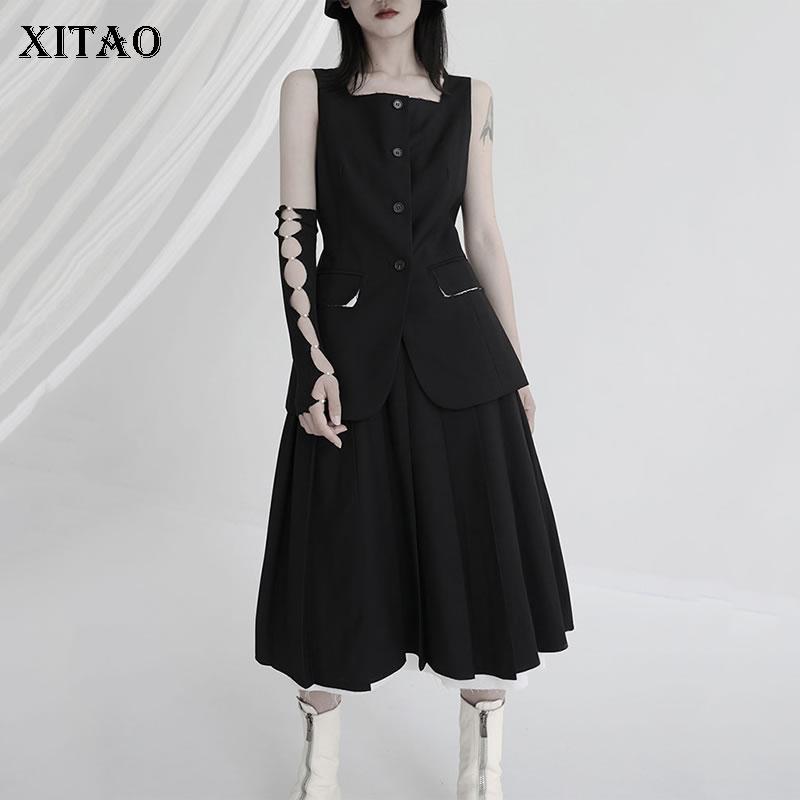 XITAO Solid Black Women Dress Sets Summer New Fashion Sleeveless Square Collar All-mach Top Simplici