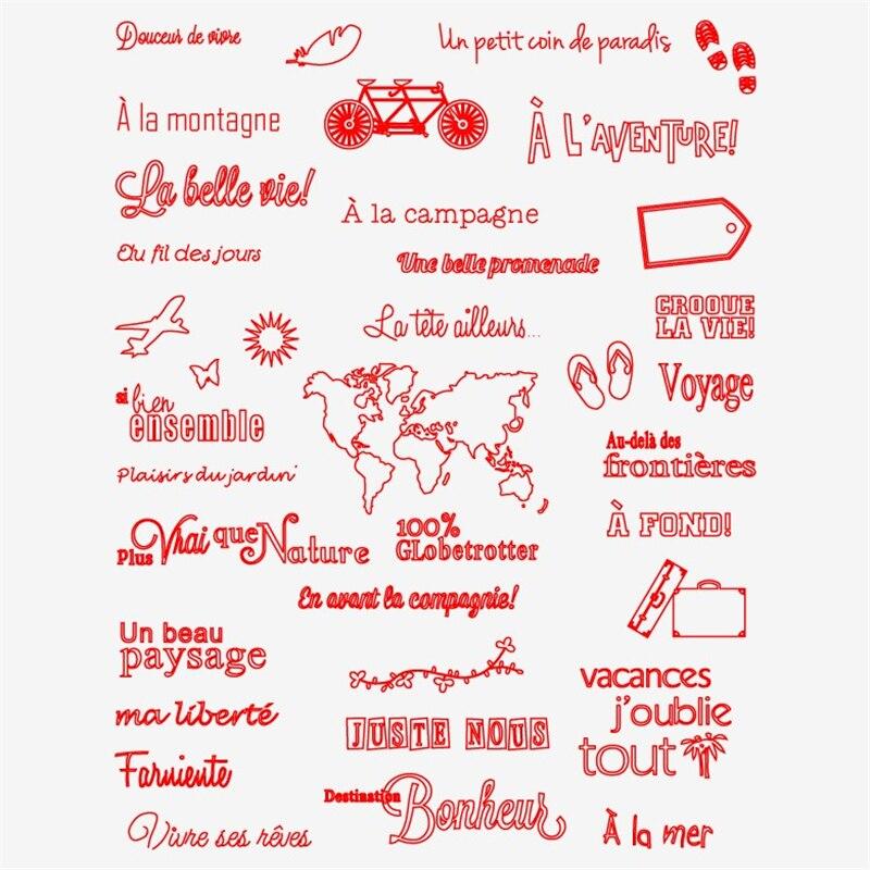 Palavras francesas transparente claro silicone selo para diy scrapbooking álbum de fotos decorativo selos claros