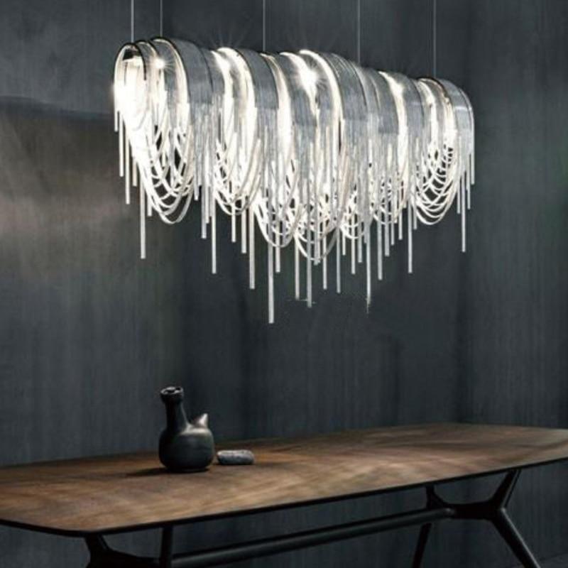 Фото - Italian design sense rectangular dining room lamp post modern living room villa personality designer tassel art chandelier italian interior design