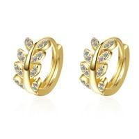 promotion fashion leaf shine cz zircon 925 sterling silver lady stud earrings jewelry girlfriend best gift