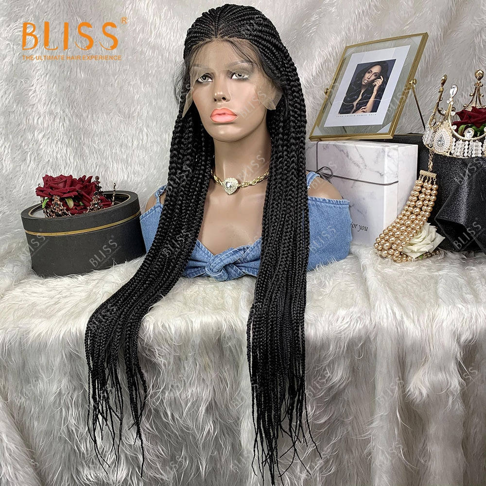 Synthetic Lace Front Wig For Black Women Braided Wigs Box Braid African 30 Inches 13X6 Black Wig Long