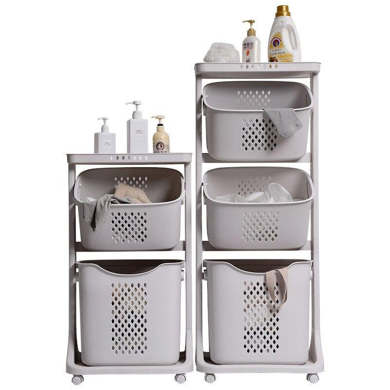 فارز غسيل الملابس ، عربة حمام بلاستيكية رمادية متعددة الطبقات ، محمولة ، سعة كبيرة ، مجوفة ، عالية الجودة