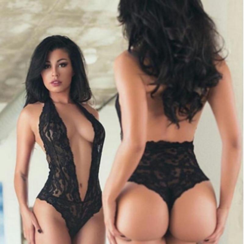 Bodysuits V-neck Lingerie Erotic Teddy Leotard Sexy Floral Lace Women Plus Size Clothing