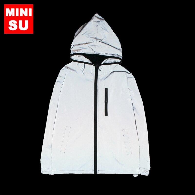 Venta caliente Trench nuevos hombres otoño hombres mujeres rompevientos chaqueta reflectante hip hop abrigos con capucha streetwear noche brillante abrigo los hombres
