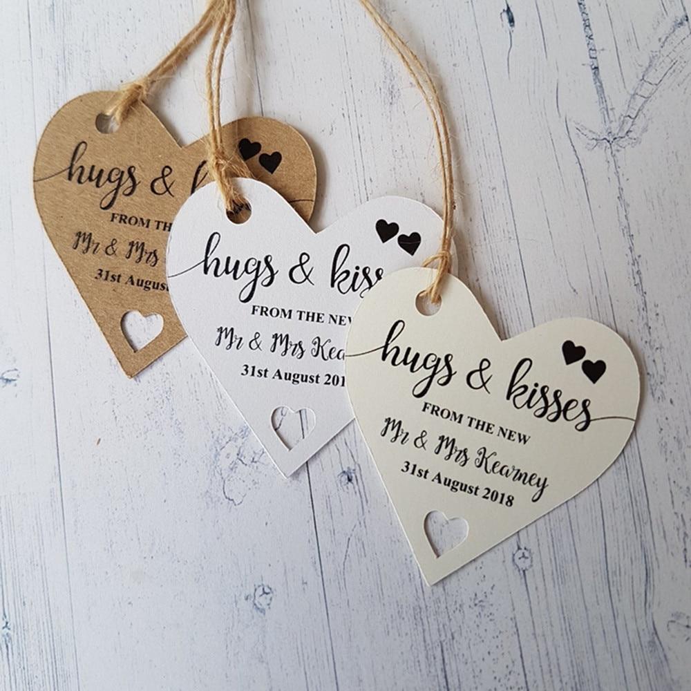 Coração personalizado em forma de presentes tags nome personalizado data nupcial do chuveiro de solteiro abraços e beijos do novo sr. e sra. lables