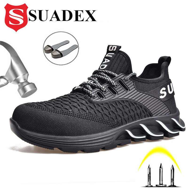 SUADEX Indestructible Shoes Men Work Safety Shoes Anti-Smashing Steel Toe Working Boots Construction