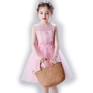 3-14 Years Kids Dress Wedding Flower Long Lace Elegant Teenagers Prom Gowns Dresses Girl Party Kid Evening Bridesmaid Princess