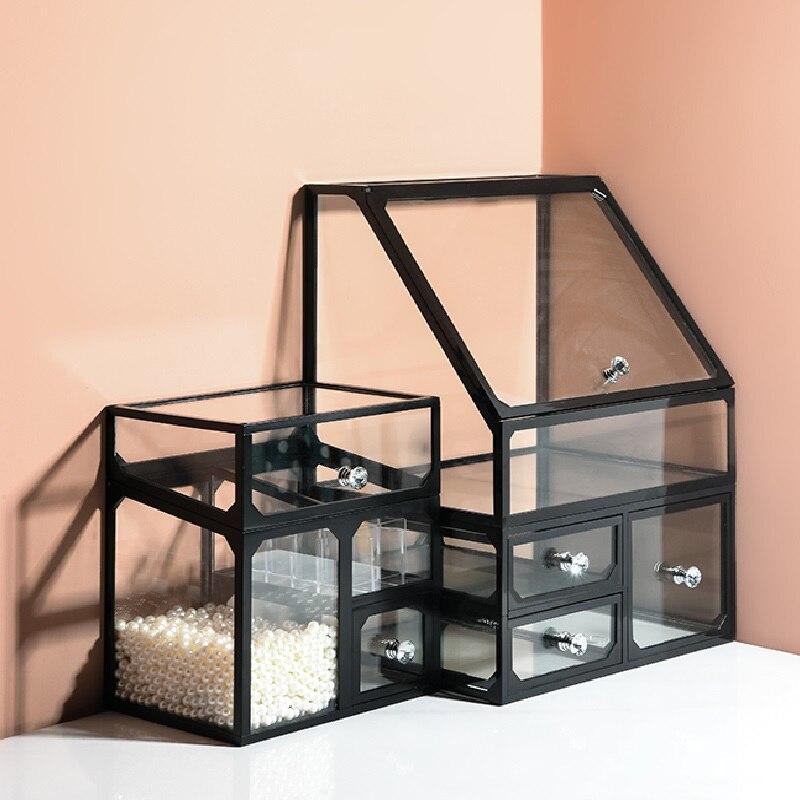 Glass Dustproof Lipstick Finishing Cosmetic Storage Box Desktop Skin Care Product Dressing Table Large Capacity Rack