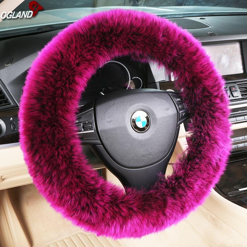Couvertures de volant en laine mérinos   Fourrure classique, longue, rétractable pour voiture, couleur de peau de mouton, pièces automobiles australiennes