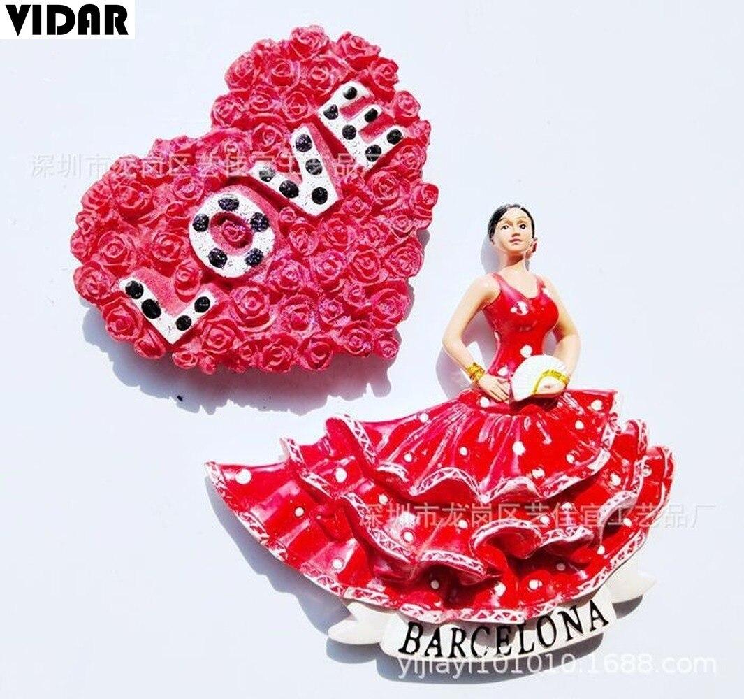 Imán de nevera VIDAR Flamenco Dancer Girl tridimensional colección regalo recuerdo de viaje imán en Barcelona, España