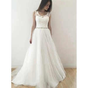 Elegant Sleeveless Scoop Neckline A Line Appliques Beaded Waist Tulle Wedding Dresses 2020 Women Bridal Gown Robe De Soiree