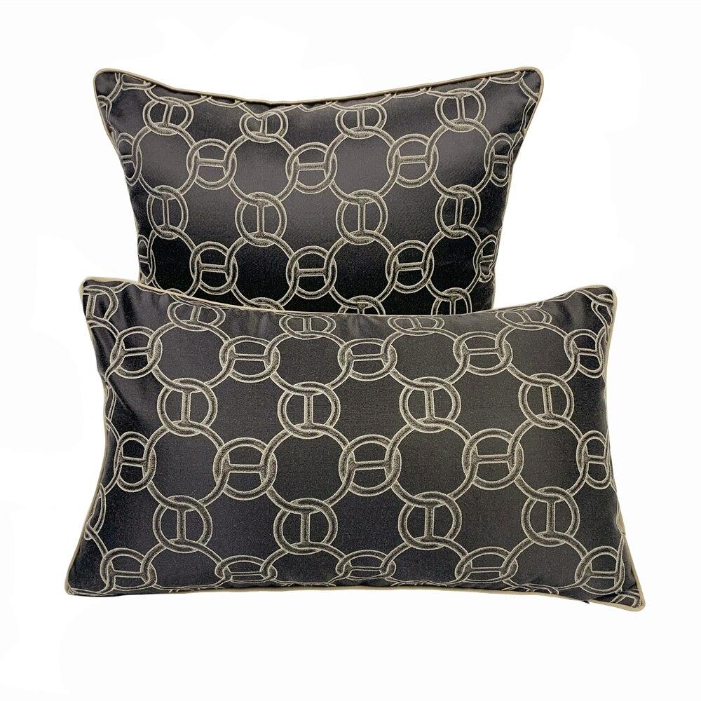 Funda de cojín de tejido geométrico con círculo marrón oscuro de moda contemporánea, funda de almohada decorativa para sofá o silla, funda de almohada brillante de 45x45cm, 1 unidad por lote
