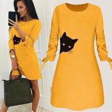 Women Fashion O-neck Cat Print Bow Elegant Straigth Dress Spring Loose Mini Dresses 3/4 Sleeve Bow Comfortable Plus Size 5xl#J30