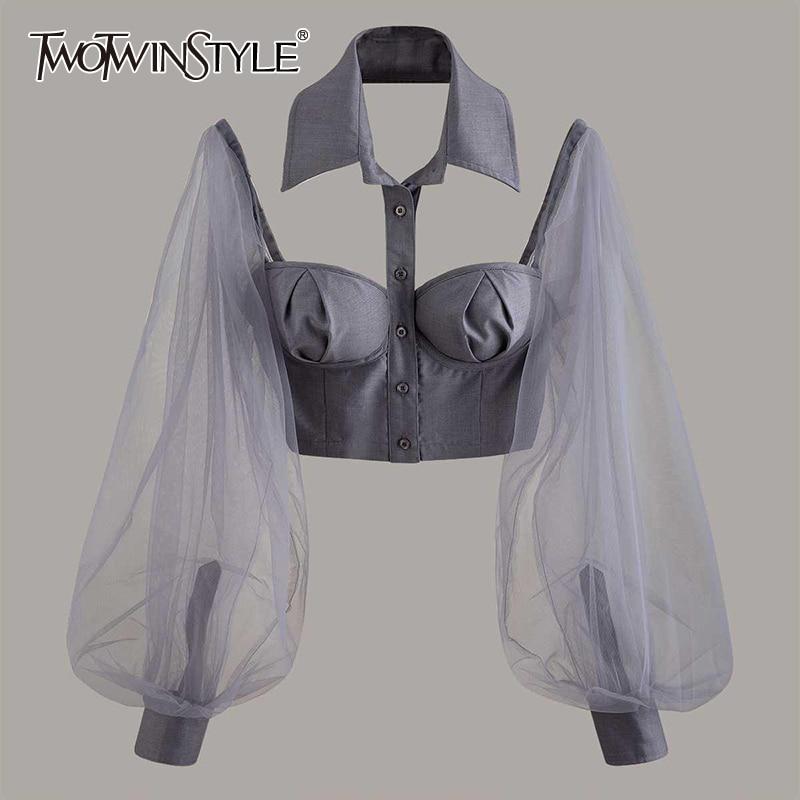 Blusa TWOTWINSTYLE elegante ahuecada para mujeres, cuello de solapa, linterna, manga larga, de malla de retazos, blusa corta para mujer, moda Tide