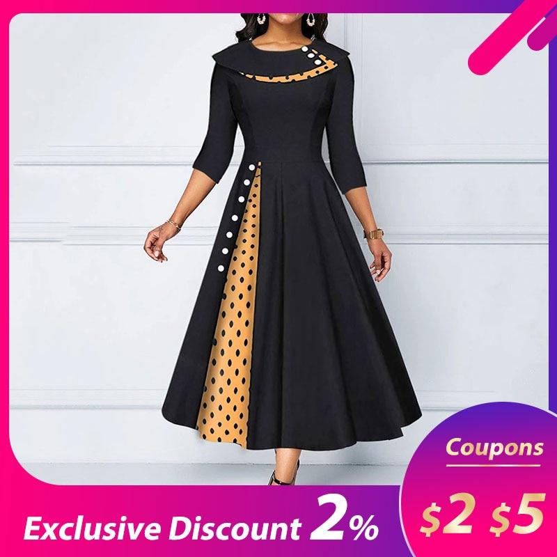 Polka Dot Print Midi Dress Party Dress Robe  A Line Vestidos Plus Size Half Sleeve  Vintage Black Women Long Dress High Waist
