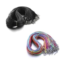 10pcslot 1 5mm black 455cm leather braided rope necklaces lobster clasp rope chain string cord necklace jewelry findings
