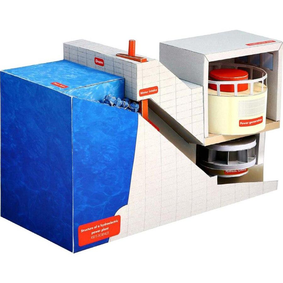 Papel estructural 3D de 26,3x13x14,5 cm modelo de planta de energía hidroeléctrica estudiantes hecho a mano DIY ciencia Natural artesanías de corte de papel