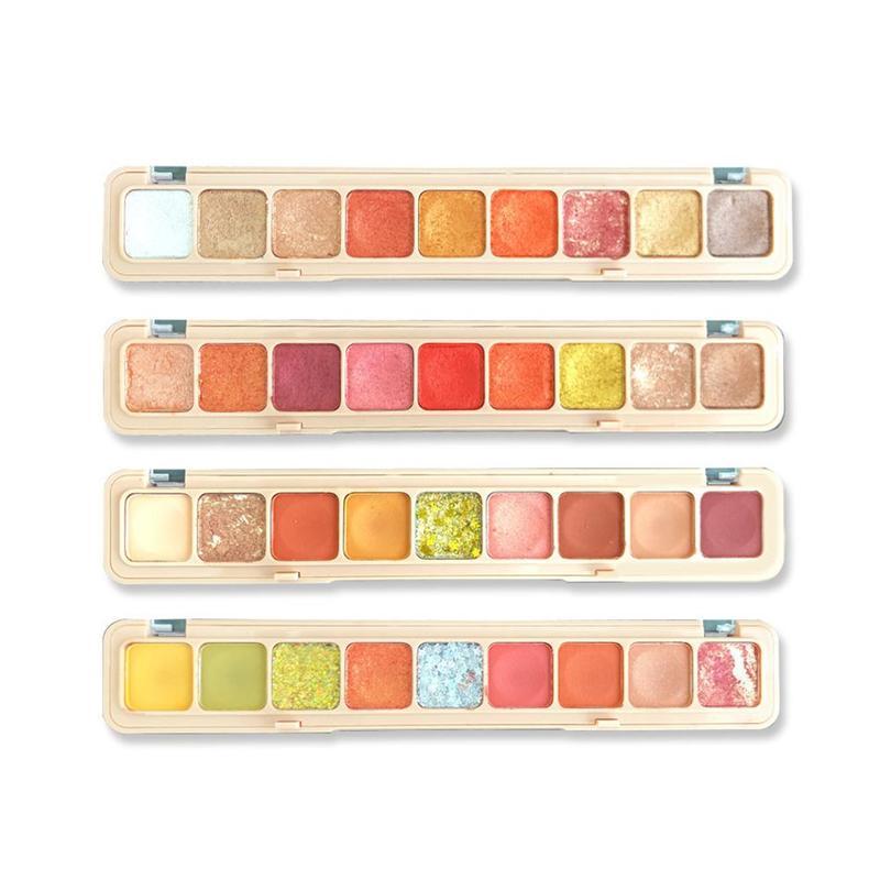 9 cores nude brilhando sombra pallete forma de teclado à prova dwaterproof água pérola glitter purê de batata olhos maquiagem sombra de olho