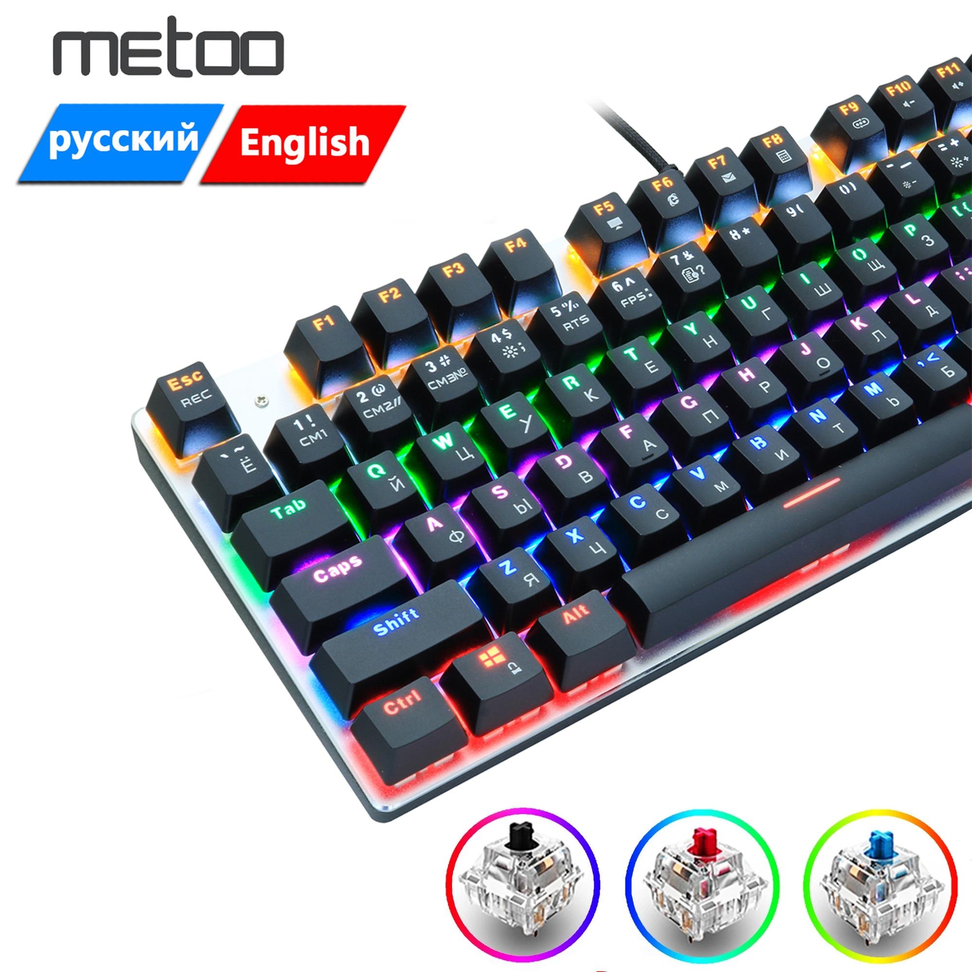 Игровая механическая клавиатура Metoo, проводная клавиатура со светодиодный Ной подсветкой, 104/87 клавиши, черный, красный, синий переключатель...