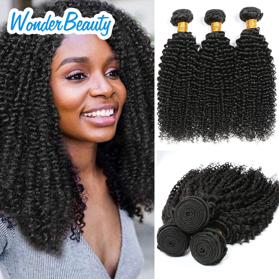 Wonder Beauty Afro Kinky Curly Bundles Malaysia Curly Hair Bundles 100% Human Hair Bundles Remy Thic
