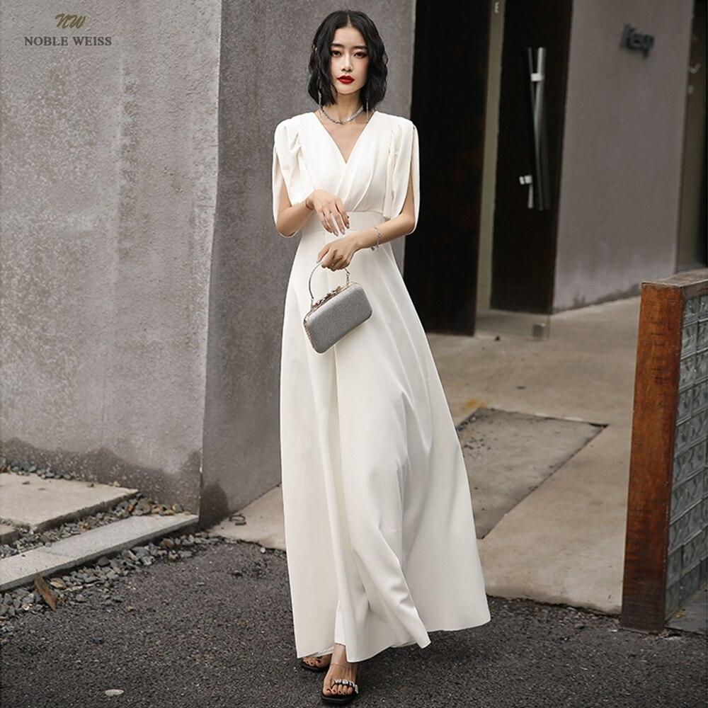 فستان سهرة ساتان طويل ترابيز ، ياقة على شكل v ، طول الكاحل ، للنساء