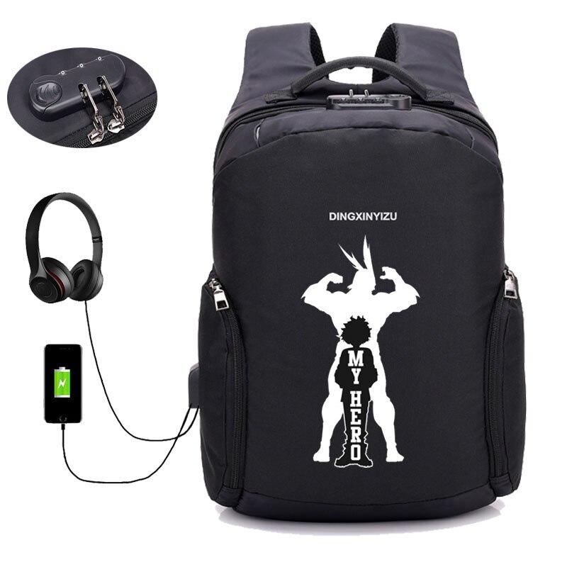 Mochila De Academia My Hero, mochila de viaje para ordenador portátil con carga USB antirrobo de anime Boku no Hero Academia, mochila para libros