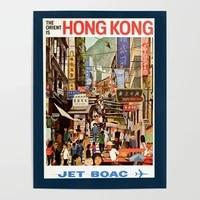 hd prints street market picture wall artwork modular painting hong kong poster canvas living room retro home decor no framework